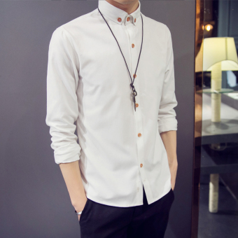 Korean-style Slim fit boy's base shirt long-sleeved shirt (Off-white color)