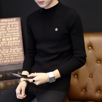 Korean-style Slim fit New style men's sweater T-shirt (Black)