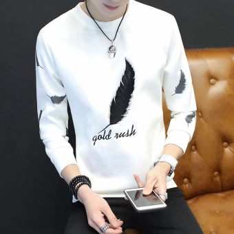 Korean-style Slim fit round neck hoodie T-shirt (White)