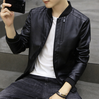 Korean-style Slim fit type student youth motorcycle leather jacket men's leather (Black)