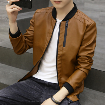 Korean-style Slim fit type student youth motorcycle leather jacket men's leather (Deep Kase)