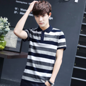 Korean-style Slim Fit Youth Fold-down collar polo shirt summer short sleeved t-shirt (Gray)