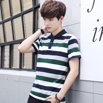 Korean-style Slim Fit Youth Fold-down collar polo shirt summer short sleeved t-shirt (Green)