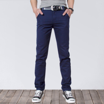 Korean-style Slim Fit Youth Summer skinny pants men's casual pants (Dark blue)