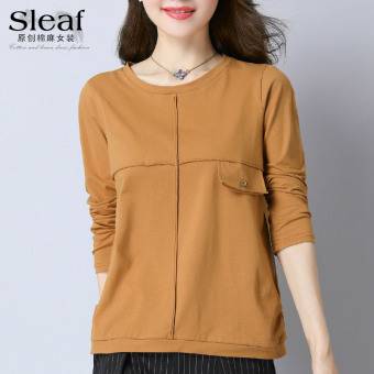 Korean-style solid color female long-sleeved Top T-shirt (Camel)