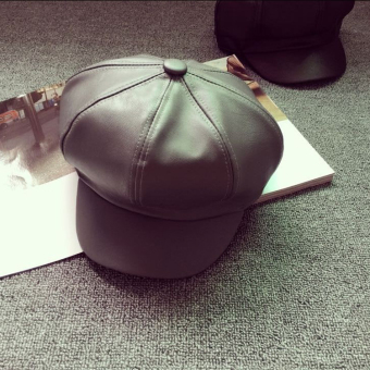 Korean-style solid color for men and women leather hat duckbill hat (Octagonal cap