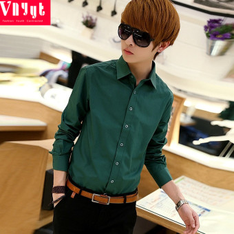 Korean-style solid color men's Spring and Autumn shirt long-sleeved shirt (Dark green color version1)