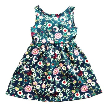 Korean-style solid color summer cherry floral vest skirt (Dark blue color version2) (Dark blue color version2)