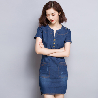 Korean-style solid color summer New style A-line dress cowboy dress (Dark blue color)
