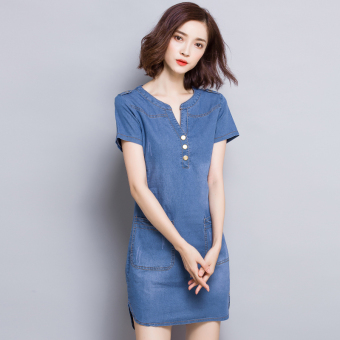 Korean-style solid color summer New style A-line dress cowboy dress (Light blue)