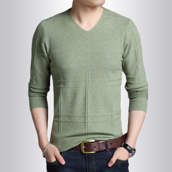 Korean-style solid color v-neck Slim fit heattech men's sweater (Light Green)