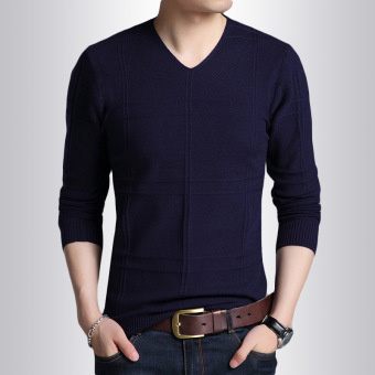 Korean-style solid color v-neck Slim fit heattech men's sweater (On the green)