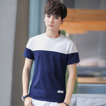 Korean-style solid men's Fold-down collar bottoming shirt summer short sleeved t-shirt (T08 dark blue)