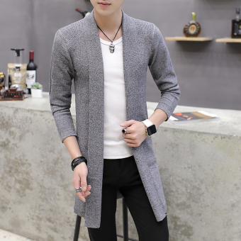 Korean-style solid Slim fit spring models long section coat knitted cardigan (Dark gray color)
