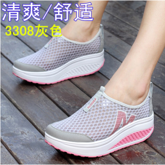 Korean-style Spring and Autumn breathable heavy-bottomed casual shoes shook his shoes (Mesh 3308 gray to send socks)