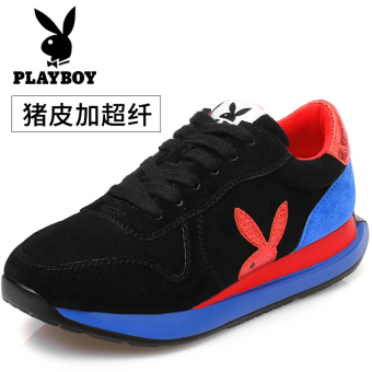 Korean-style Spring and Autumn New style Elevator winter shoes athletic shoes (Black/Hong)