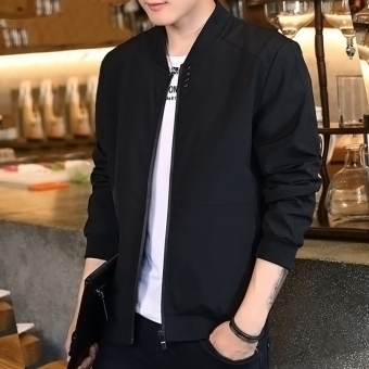 Korean-style Spring and Autumn thin section Slim fit models casual jacket men's jacket (Black)
