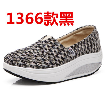 Korean-style spring and summer breathable casual shoes (1366 black)