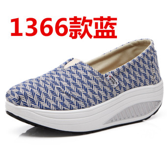 Korean-style spring and summer breathable casual shoes (1366 blue)
