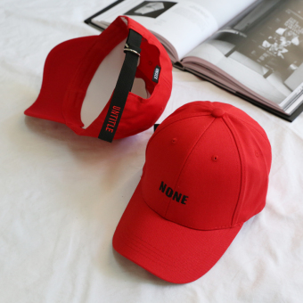 Korean-style spring long with lettered embroidered lettered baseball cap (Red)