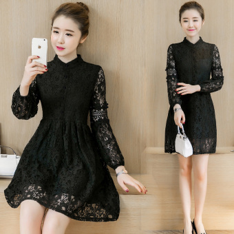 Korean-style spring New style collar bottoming dress (Black)