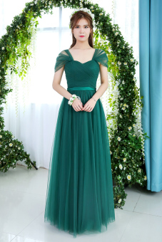 Korean style spring New style Slim fit sisters dress bridesmaid dress (Dark green color shoulder long version1) (Dark green color shoulder long version1)