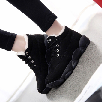 Korean-style student cotton-padded winter women's shoes (Black)