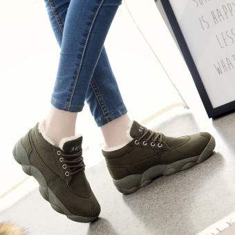 Korean-style student cotton-padded winter women's shoes (Pure green)