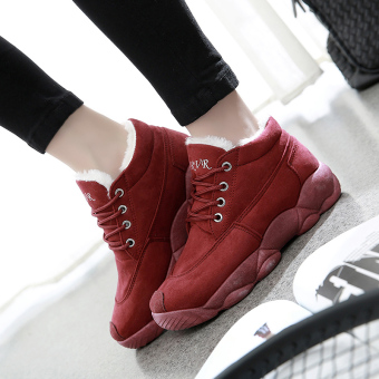 Korean-style student cotton-padded winter women's shoes (Wine red color)