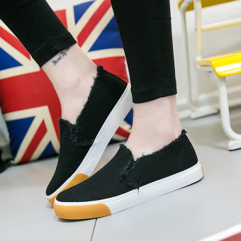 Korean-style student flat shoes New style canvas shoes (Black)