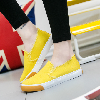 Korean-style student flat shoes New style canvas shoes (Yellow)