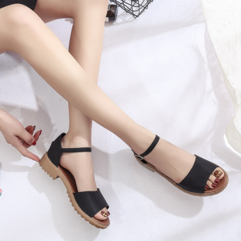Korean-style student semi-high heeled women's shoes flat top shoes (Black ordinary bottom)