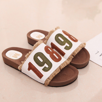 Korean-style summer flat heel lettered female sandals and slippers (White)