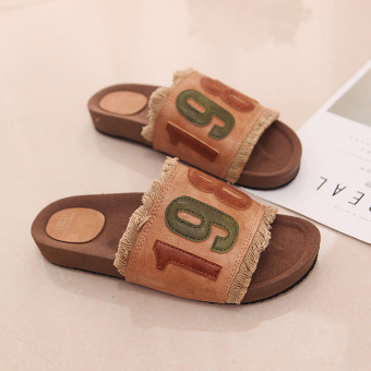 Korean-style summer flat heel lettered female sandals and slippers (Yellow)