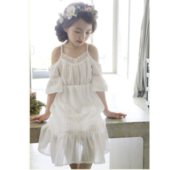 Korean-style summer girls short sleeved dress (White) (White)