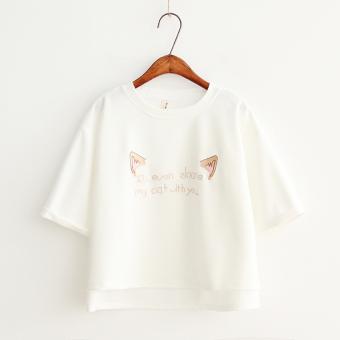 Korean-style summer loose chiffon shirt cute short sleeved t-shirt (White) (White)