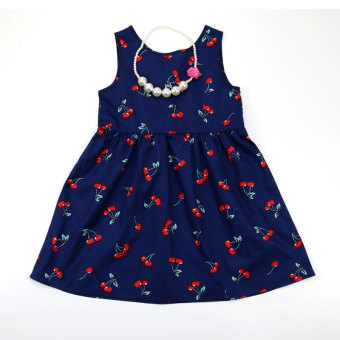 Korean-style summer New style female Baobao dress summer dress (Dark blue color)