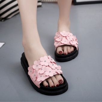 Korean-style summer New style flower crystal slippers (Pink)