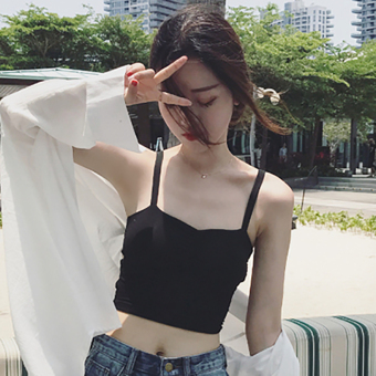 Korean-style summer off-the-shoulder anti-sexy boob tube top (Black) (Black)