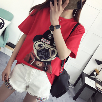 Korean-style Summer Student round neck short-sleeved t-shirt (Red)