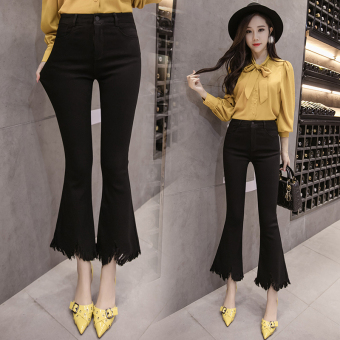 Korean-style tassled female ankle-length pants Bell-Bottom pants