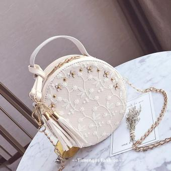 Korean-style tassled New style mini Round package small bag (Off-white color)