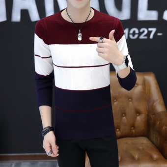 Korean-style Teenager student Slim fit Korean-style knit shirt thin section sweater (TN-815 burgundy)