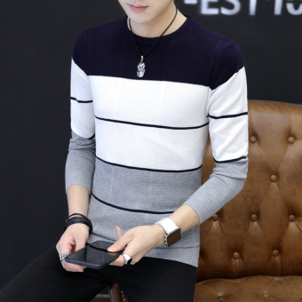 Korean-style Teenager student Slim fit Korean-style knit shirt thin section sweater (TN-815 dark blue)