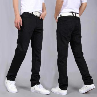 Korean-style thin stretch Teenager skinny pants men's jeans (418 black)