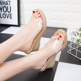 Korean-style transparent female high-heeled sandals and slippers