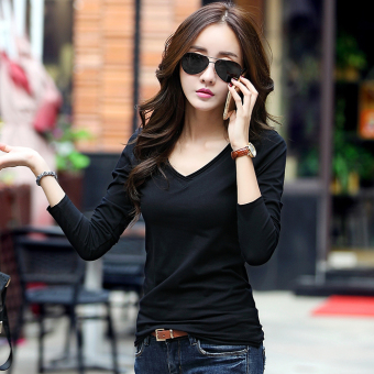 Korean-style V-neck slimming Cotton Short sleeved t-shirt Women's Top (Black long-sleeved)