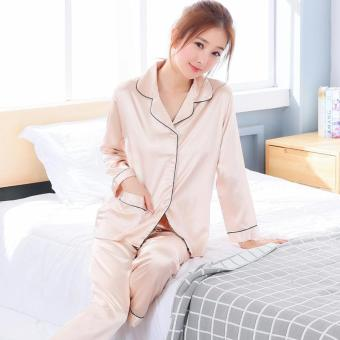 Korean-style viscose fibre female long-sleeved cute tracksuit silk pajamas (Long-sleeved 502 champagne color)
