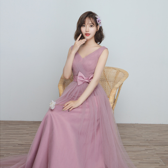 Korean style wedding sisters dress slimming bridesmaid dress (B) (B)