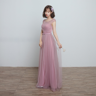 Korean style wedding sisters dress slimming bridesmaid dress (D) (D)